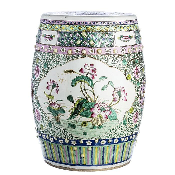 Chinese porcelain 'lotus' stool, Tongzhi