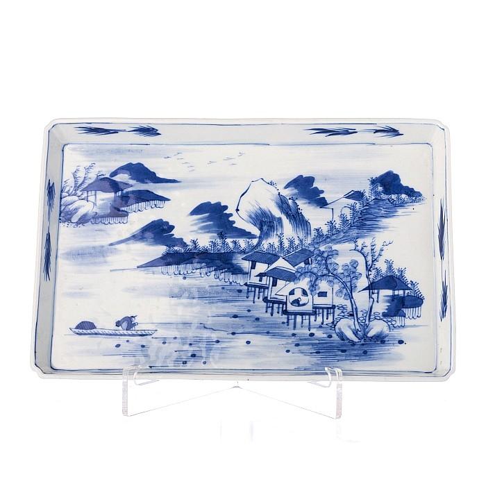 Dessert saucer plate, rectangular, in Chinese porcelain, Guangxu
