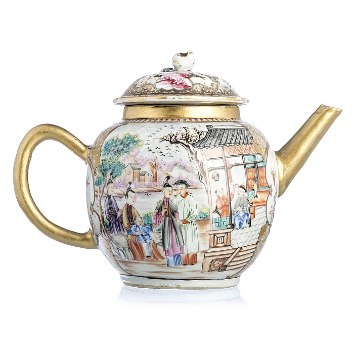 Chinese porcelain figures and birds teapot, Qianlong