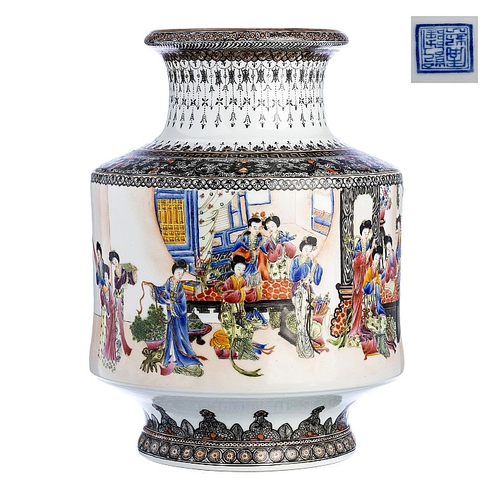 Chinese porcelain vase with figures, Republic
