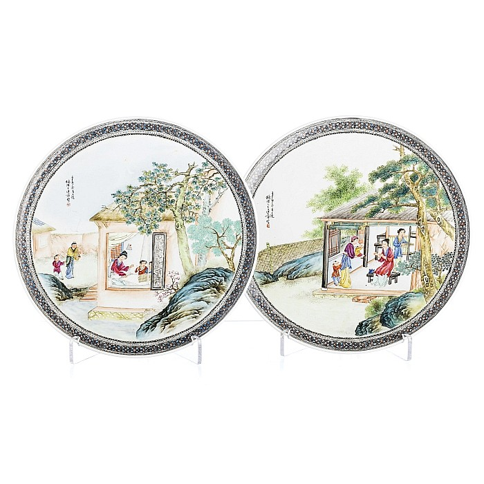 Pair of plates in Chinese porcelain, Republic