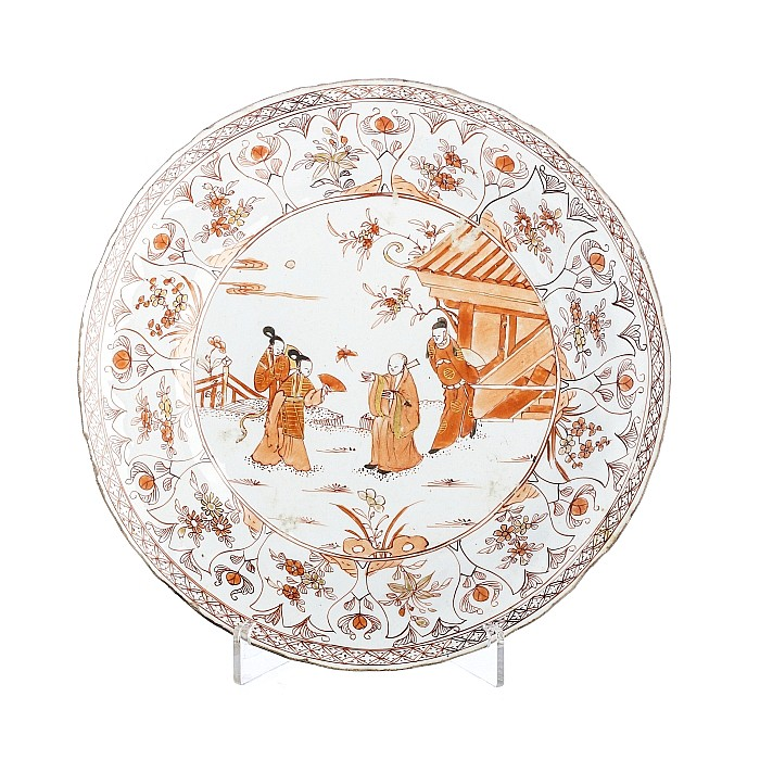 Plate with scholar in Chinese porcelain, Kangxi