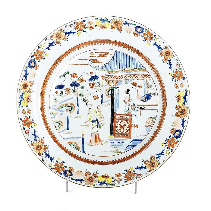 Large plate with 'figures' in Chinese porcelain, Qianlong