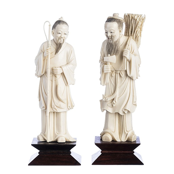 Chinese ivory carvings, fisherman and lumberjack