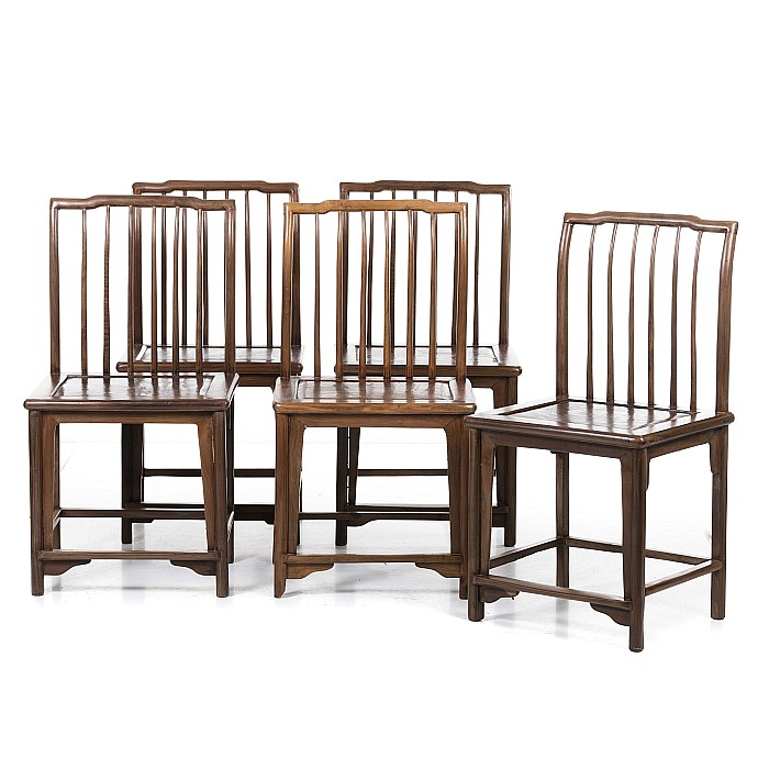 Five Chinese chairs with a slatted backrest, Minguo