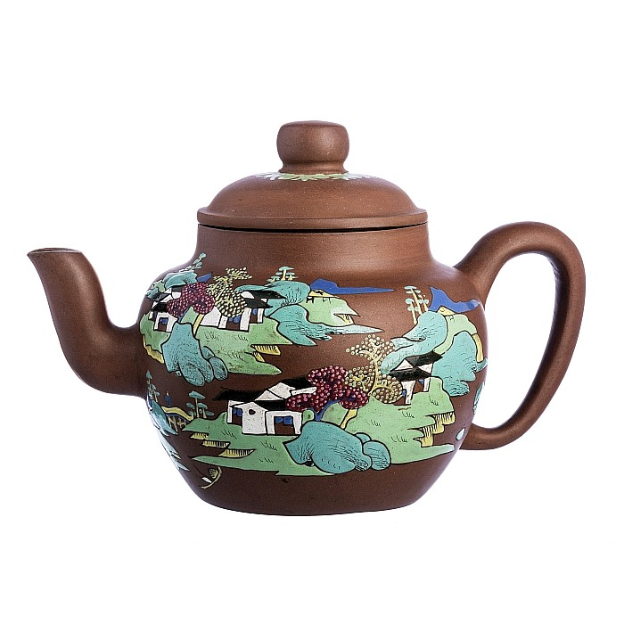 Large teapot with a 'scenery' in Chinese Yixing ceramics