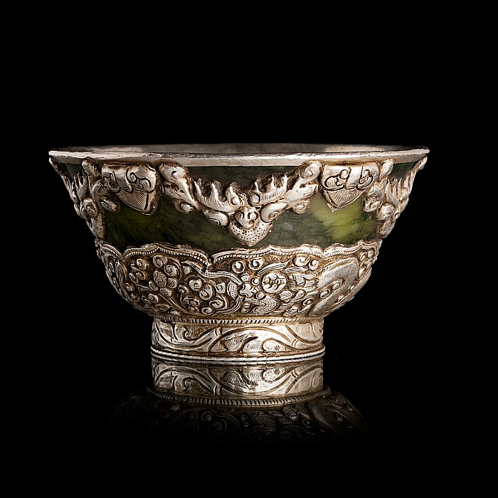 Tibetan spinach jade and silver dragon bowl