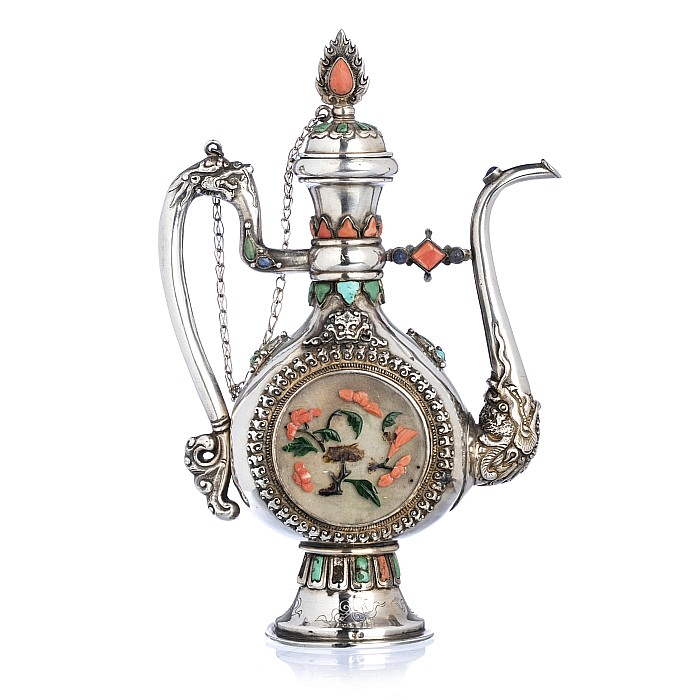 Tibetan Silver Teapot with Jade, Turquoise and Coral, 19thC