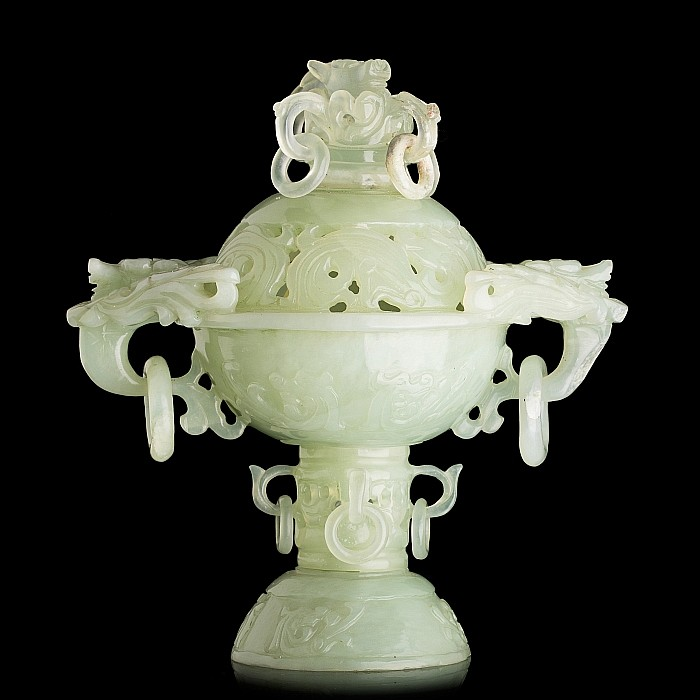Chinese jade censer with foot and lid