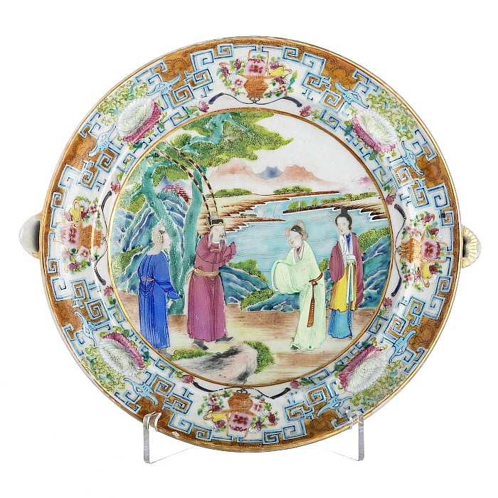 Oval rechaud with a lid in Chinese porcelain, Daoguang