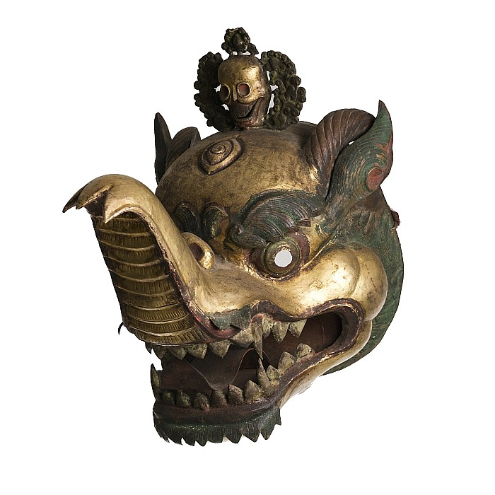 Tibetan gilt copper mask of Ganesha, 19thC