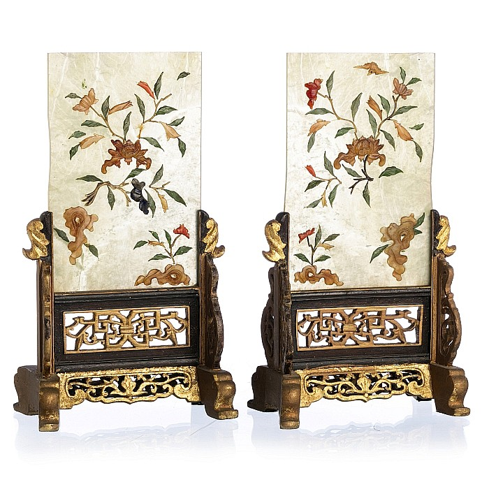 Pair of Chinese table screens with hardstones, Minguo