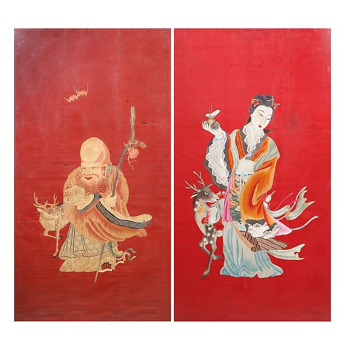 Pair of chinese figural silk panels, Guangxu