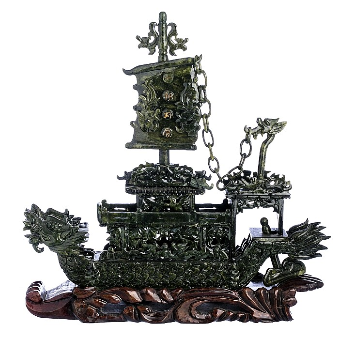 Chinese Hardstone boat with a wooden base