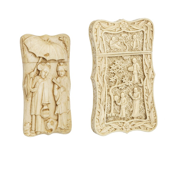 Two Chinese card holders made of ivory