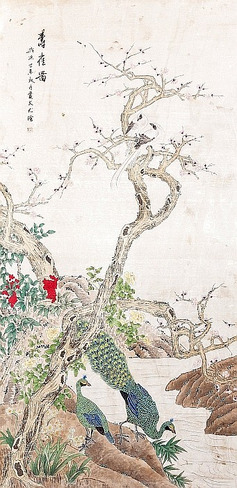 CHINESE SCHOOL, 19th century - 'Birds among flowers'