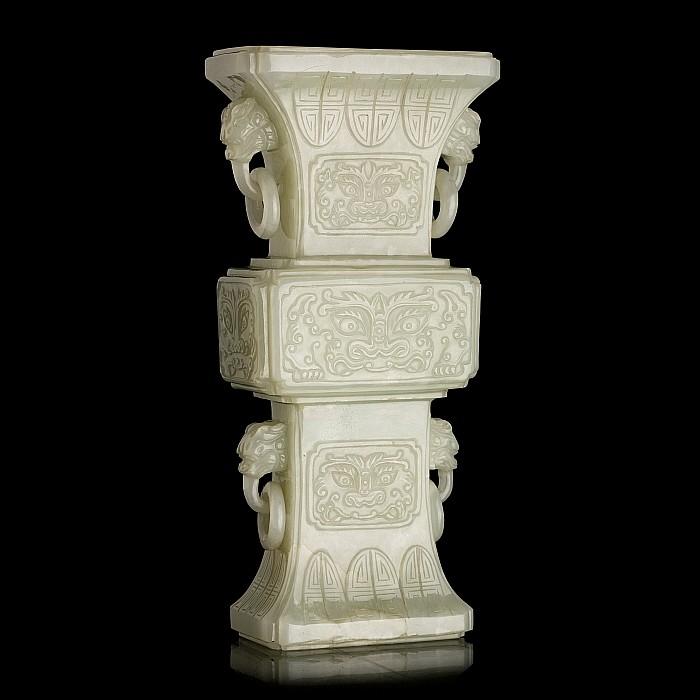 Chinese Gu celadon jade vase, 19thC