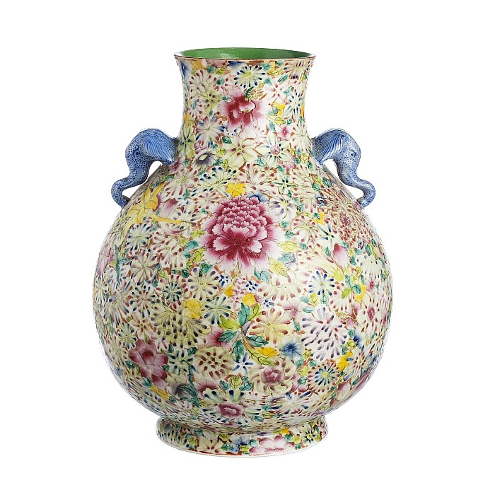 Chinese Porcelain Hu Millefiori Vase, Minguo