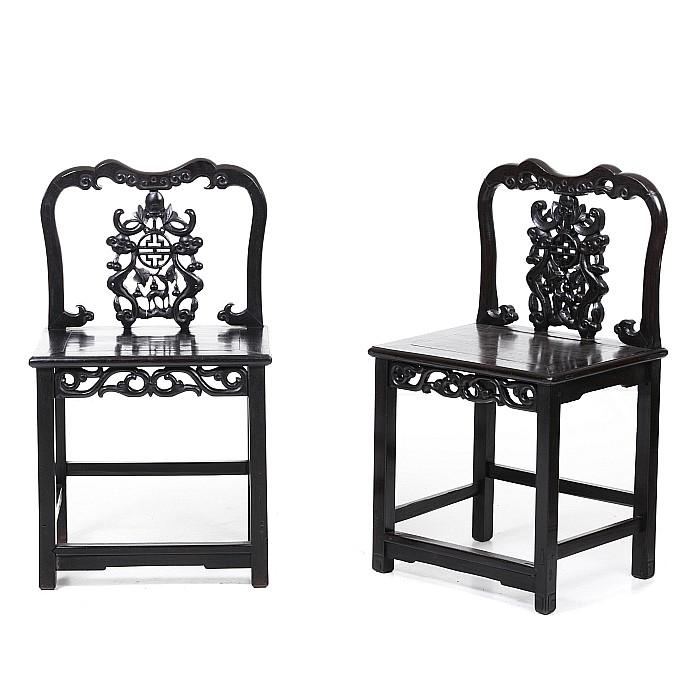 Pair of Chinese Hongmu chairs