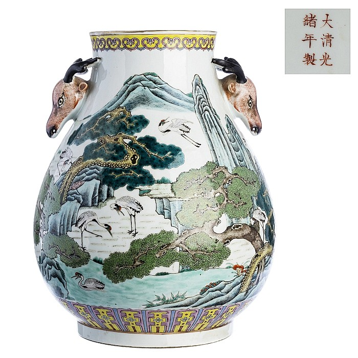 Chinese porcelain Hu vase, Guangxu mark and period