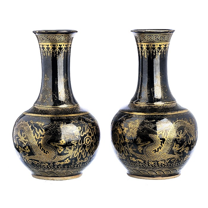 Pair of Chinese porcelain famille noire dragon vases, Guangxu