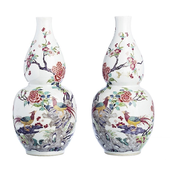 Pair of Chinese Porcelain famille rose pheasant gourds, Daoguang
