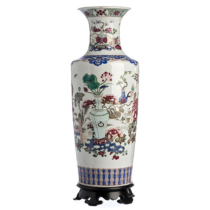 Vase 'pots with flowers' in Chinese porcelain, Guangxu