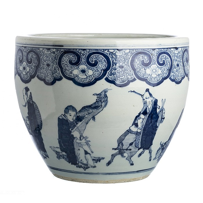 'Eight Immortals' cachepot in chinese porcelain, Guangxu