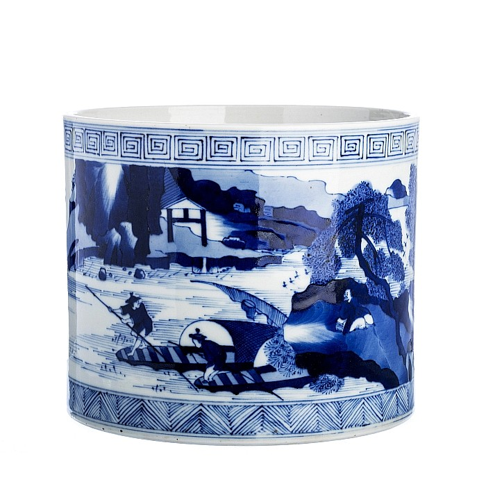 Large brushpot in Chinese porcelain, Guangxu