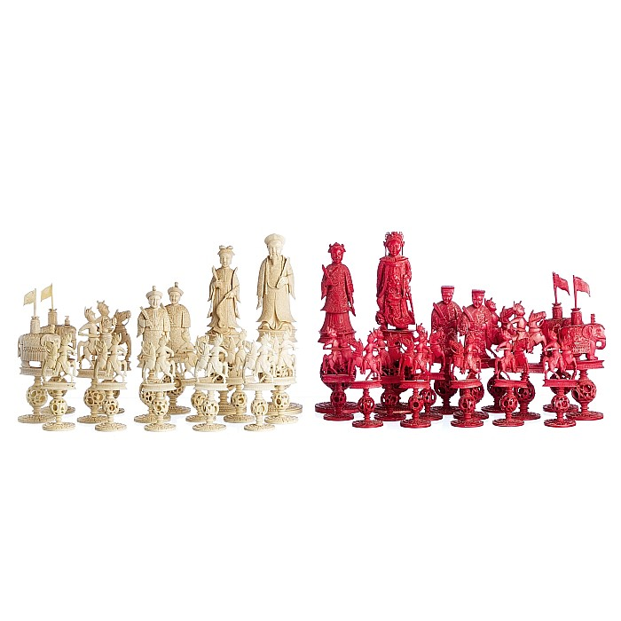 Chinese Chess Set, ivory, lacquered box