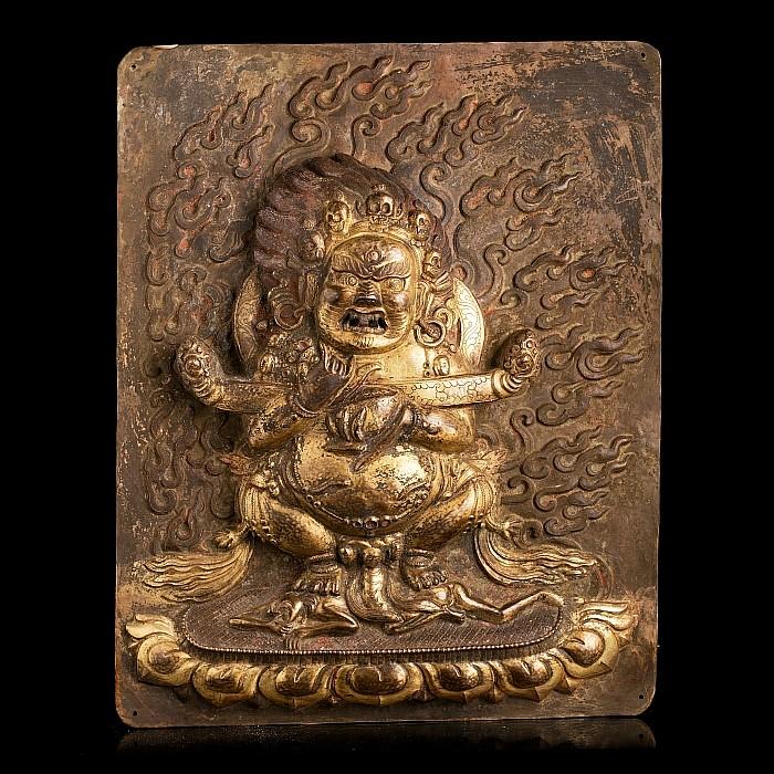 Tibetan gilt copper plaque of Mahakala, 18th century
