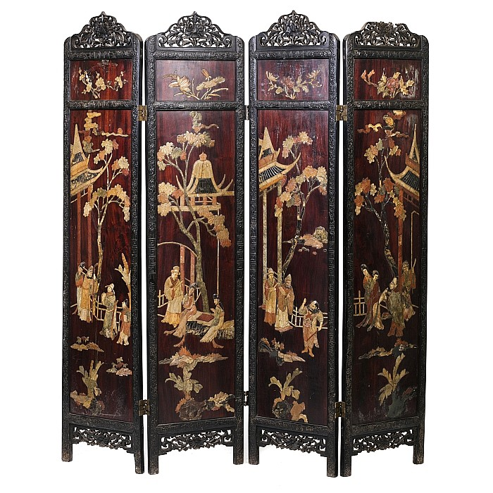 Chinese folding screen with inlaid work with stones