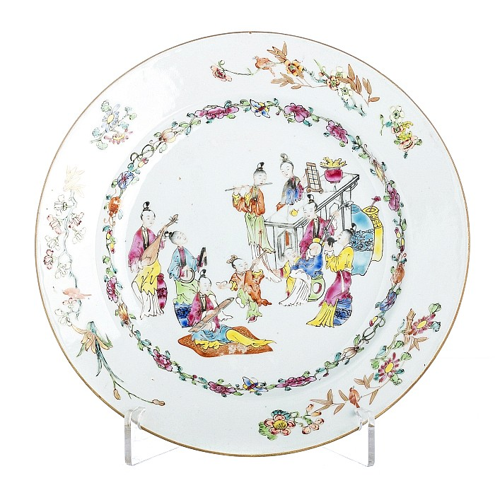 Plate 'Musicians' in Chinese porcelain, Qianlong