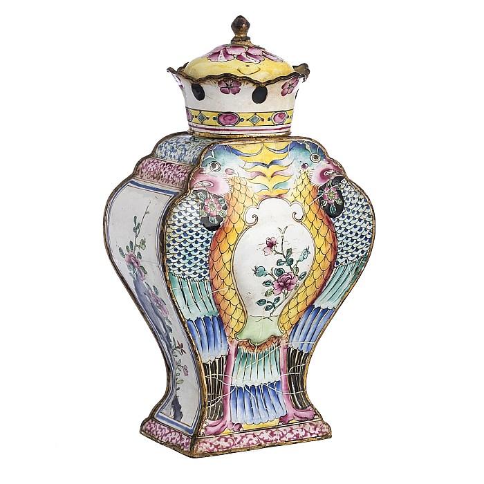 Chinese Canton enamel Phoenix Flask, Qianlong