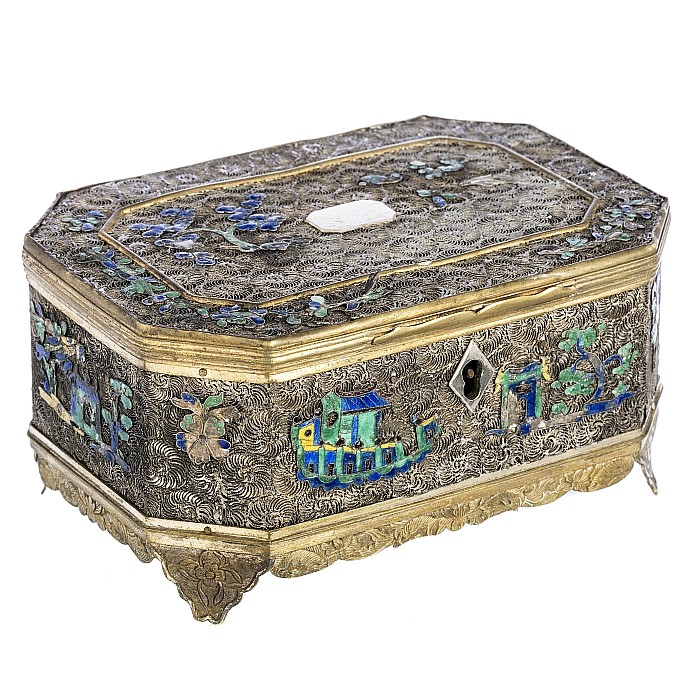 Chinese silver filigree and enamel box