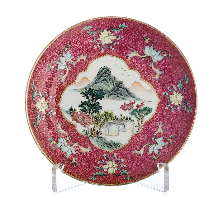Chinese porcelain ruby back dish, Jiaqing