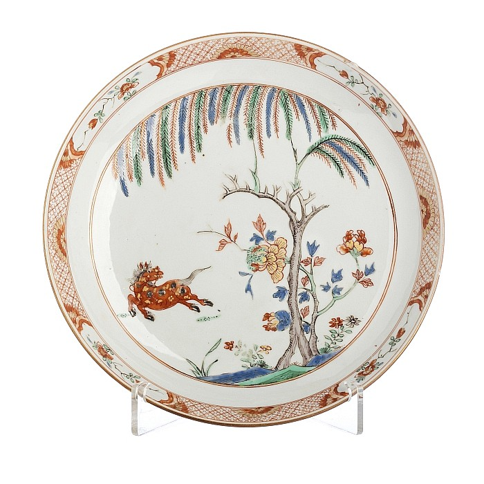 Saucer with a 'horse' in Chinese porcelain, Kangxi