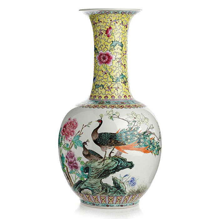 Vase 'peacocks' in Chinese porcelain