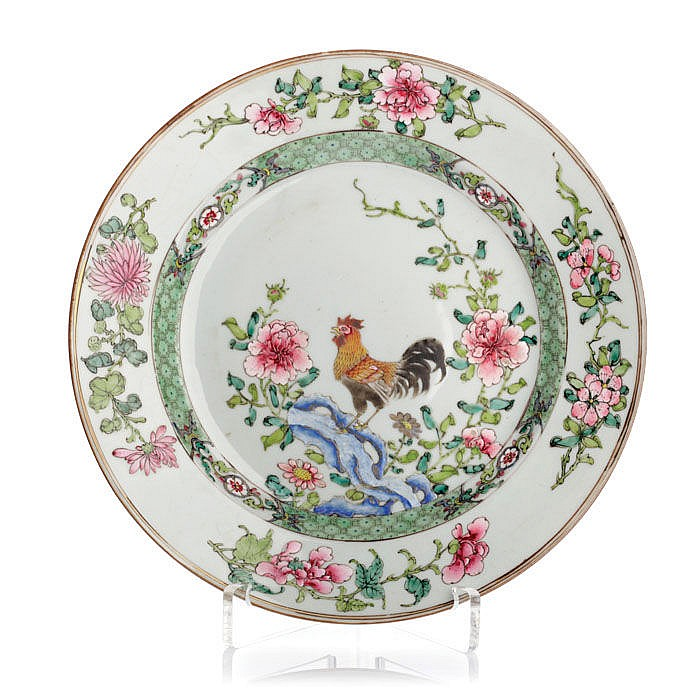 Plate 'rooster' in Chinese porcelain, Yongzheng