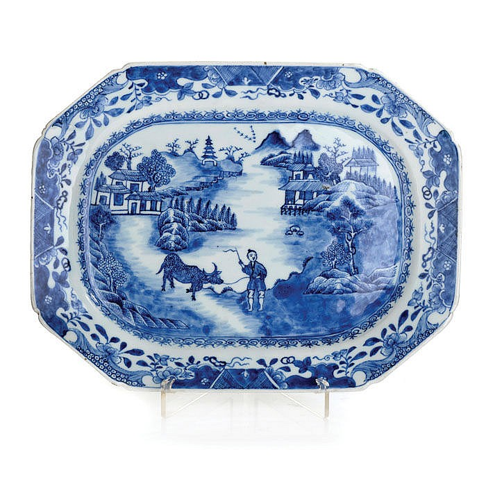 Platter figurative in Chinese porcelain, Guangzhou