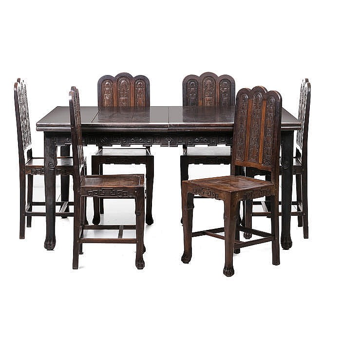 Chinese dining table and eight chairs minguo for Oriental dining table and chairs