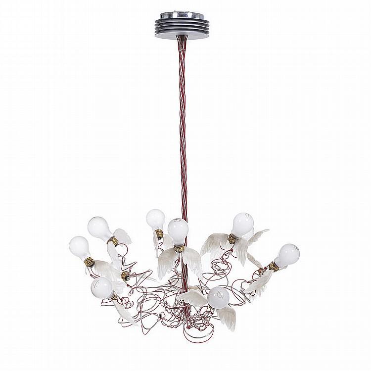 ingo maurer 1932 birds birds birds ceiling lamp. Black Bedroom Furniture Sets. Home Design Ideas