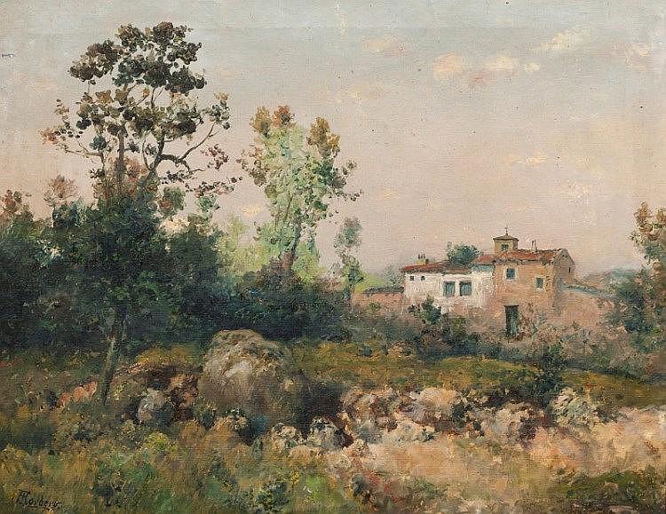 JOSE FRANCO CORDERO (1851 - ?) - 'Landscape with houses'