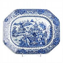 Eight-sided long plate in Chinese porcelain, Canton