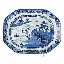 Octogonal platter in Chinese porcelain, Canton