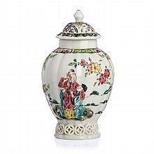 Chinese Porcelain Figural Tea Caddy, Yongzheng