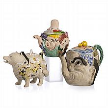 Three Japanese Figural Biscuit Teapots, Meiji