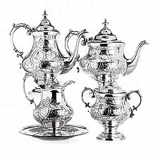 Coffee and tea set in boar silver