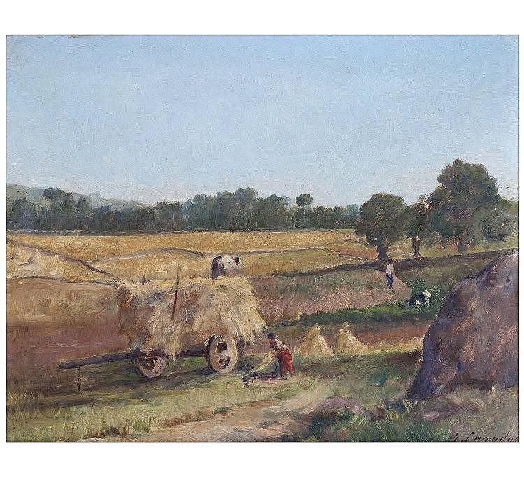 JOSÉ CAVADAS (1881-1964) - 'Paisagem com carroça e medas de feno' (Scenery with