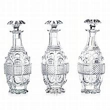 Three 'bubble' bottles in crystal, 19th century